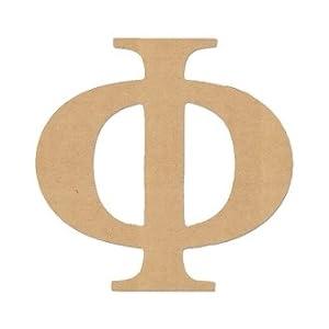Amazoncom 6quot letter quotphiquot greek font unfinished wood for Buy wooden greek letters