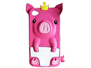 Peach 3D Pig Cartoon Animal Silicone Case Cover for iPhone 4 4G 4S