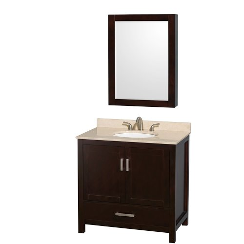 Sheffield 36 Inch Single Bathroom Vanity In Espresso, Ivory Marble Countertop, Undermount Oval Sink, And Medicine Cabinet front-607221