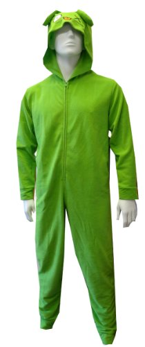 Green Uglydoll Ox Hooded Fleece Onesie Pajama For Men (Small) front-903306