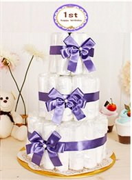 2 Piece Baby Birthday One Hundred Days Tabletop Decoration / Diaper Cakes (Purple 100 Day)