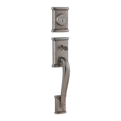 Ashfield Interior/Exterior Double Cylinder Entrance Handleset Finish: Rustic Pewter Kwikset