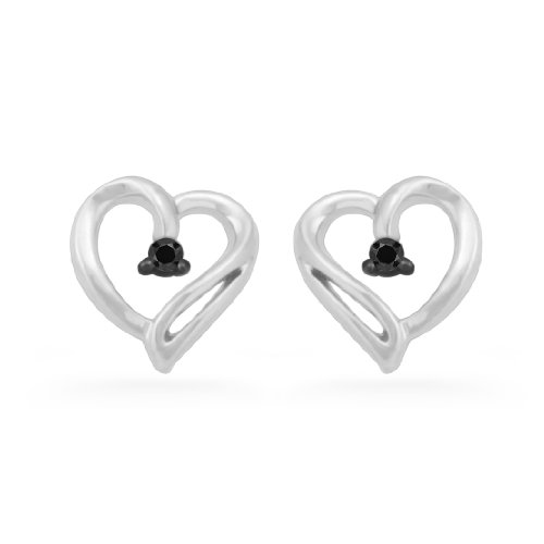 Platinum Plated Sterling Silver Black Round Diamond Heart Earring (0.04 cttw)