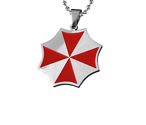 Gambulin Collana d'acciaio di titanio Resident Evil Umbrella Red Dog Tag Pendant, pendente della collana Dog Tag per gli uomini