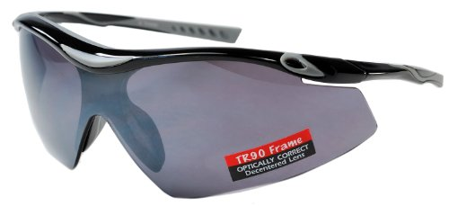 JiMarti TR22 Sport Wrap TR90 Sunglasses UV400 Unbreakable Protection for Cycling, Ski or Golf (Black & Grey)