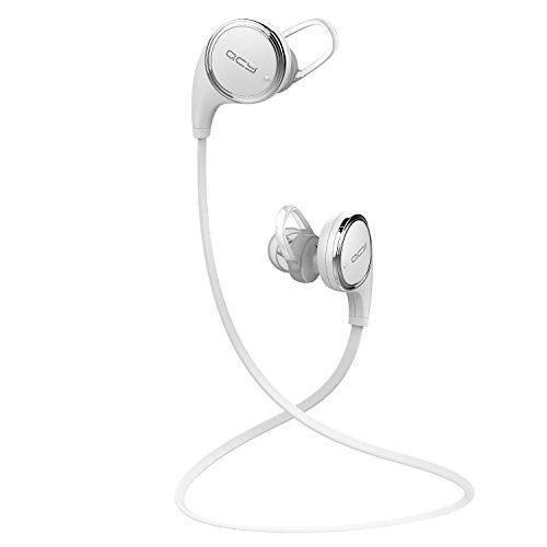 QCY QY8 Bluetooth 4.1 ワイヤレスイヤホン マイク内蔵 ハンズフリー 通話 APT-X CSR 8645 CVC6.0 ノイズキャンセリング搭載 防水 / 防汗 高音質スポーツイヤホン 技適認証済 【日本正規品】メーカー1年保証 (ホワイト)