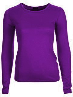 NEW WOMENS LADIES PLAIN LONG SLEEVE TOPS T-SHIRT ALL COLOURS SIZE (8-14) (M/L, PURPLE)