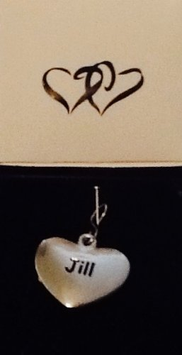 Jill ~ Silver-Tone Metal Personalized Name Charm! Heart Shaped! Top Quality ~ Name On Both Sides!