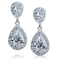 Bling Jewelry Pave CZ Teardrop Dangle Earrings Silver Tone