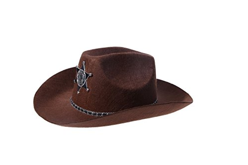 Brown Sheriff Hat- Cowboy Costume Halloween Wild West Brown Felt Star Badge Hat