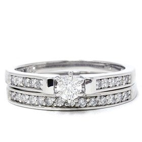 .55CT Diamond Engagement Matching Wedding 14K Ring Set