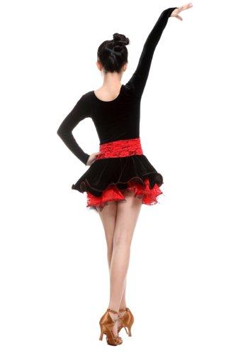 Colorfulworldstore Reguläres Mädchen/Frauen Turnierkleid für Lateinamerikanische Tänze-Cha cha cha Latin Rumba Samba Kleid-Langärmeliges tailliertes schwingendes Kleid (Mädchen-XXL-135cm Höhe, Schwarz + Rote Spitze)