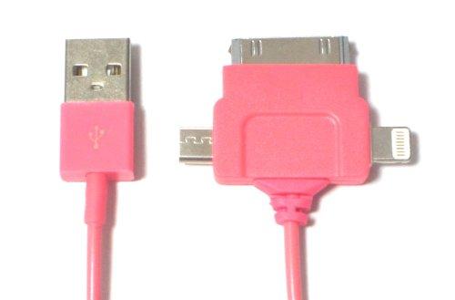 Lightning USBケーブル 3in1モデル ライトニング(iPhone5/iPad mini/iPad Retina)/30pinDock(旧世代iPhone・iPad)/マイクロUSB(Wifiルーター等)に1本で対応可能> 充電・同期(データ通信) (ピンク)
