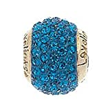 Lovelinks Electric Blue Cystal Link with Sterling Silver Gold Plated Core