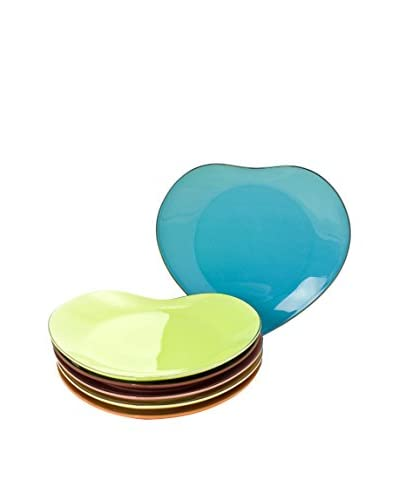 Classic Coffee & Tea by YEDI Inside Out Heart Set of 6 Dessert Plates, Multi/Platinum