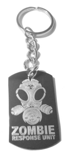 Zombie Response Team Unit Alien Face Gas Mask Biohazard Engraved Logo - Metal Ring Key Chain