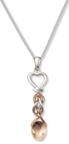 Ladies' Lovespoon Pendant Necklace, Sterling Silver Curb Chain, 46cm Length, Model SLSP, by Clogau Gold