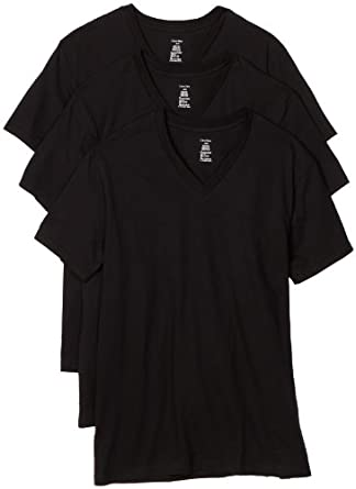 Calvin Klein 男士纯棉V领T恤衫三件装,$27.52(可用衣物八折卷,到手价格约71元/件)