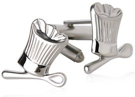 Clever Chef's Hat and Spoon Cufflinks in Satin Silver Finish with Presentation Box
