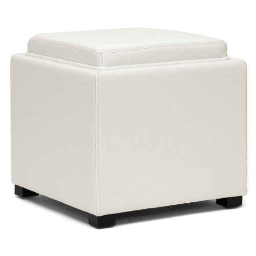 Baxton Studio Gaia Leather Modern Storage Cube Ottoman, Cream