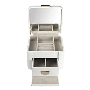 Dulwich Luxurious Cream Leather Jewellery Box Medium Two Tone Collection 71025