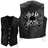 Diamond PlateTM Rock Design Genuine Buffalo Leather Motorcycle Vest with Skull and Crossbones Embroidered Patch by NYC Leather Factory Outlet