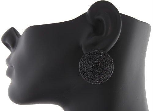 Ladies Black Pebble Disc Style Clip on Earrings