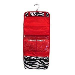 Ever Moda Red Zebra Hanging Cosmetic Bag from Private Label