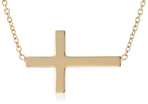 14K Gold Filled Polished Sideways Cross Pendant Necklace, 18""