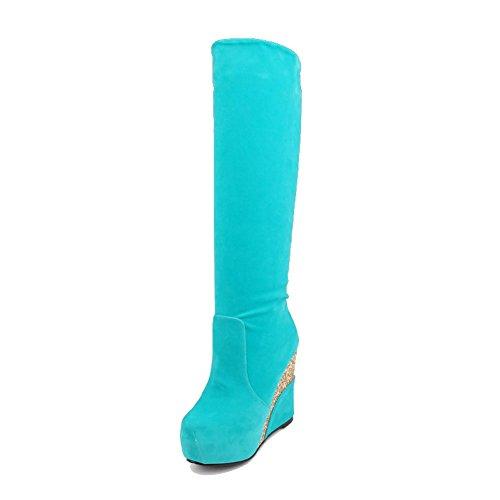 AllhqFashion Donna Puro Tacco Alto Punta Tonda Plastica Tirare Stivali, Azzurro, 35