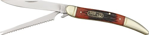 Frost Ocoee Fish Knife Red Folding Knife,Clip Blade/Fish Scaler, Red Pick Bone Handle Oc562Rpb