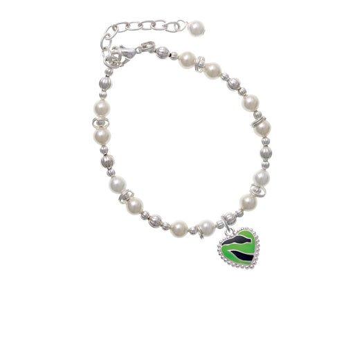 Lime Green Zebra Print Heart - Imitation Pearl Beaded Bracelet