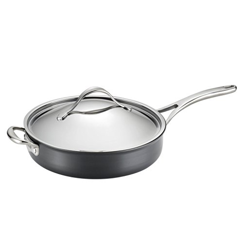 Anolon Nouvelle Copper Nonstick Covered Saute Pan, 5-Quart, Dark Gray