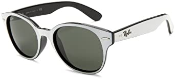 Ray-Ban RB4141 Round Wayfarer Sunglasses,White On Black Frame/Crystal Green Lens,51 mm