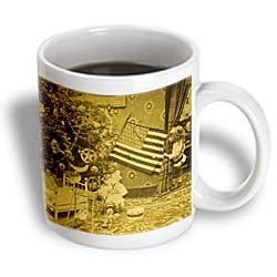 Girl and American Flag Vintage Christmas Antiqued tone – 11oz Mug