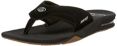 Reef Men's Fanning Sandal, Black/Silver, 5 M US