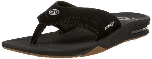 Reef Men's Fanning Sandal,Black/Silver,9 M US
