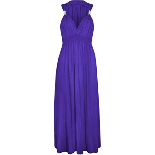 LADIES LONG STRETCH FULL LENGTH DRESS WOMENS MAXI DRESS COIL SPRING ONE SIZE JERSEY SEXY BEACH DRESSES 8-14