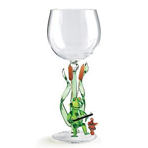 Fishing Frog Collectible Wine Glass
