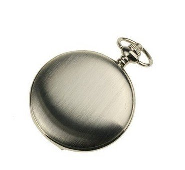 Men's Smooth Stainless Steel Case White Dial Arabic Numbers Modern Pocket Watch with Chain