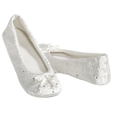Image of Totes Rosalee Bridal Slippers White (B007IJS7SI)