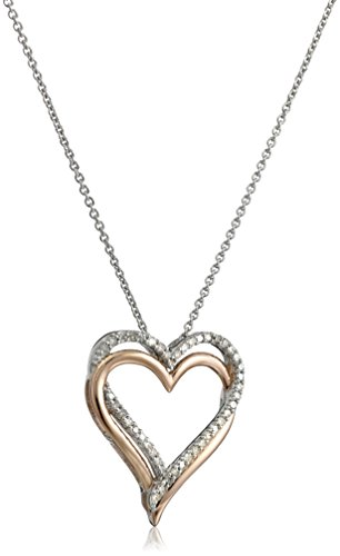 14k Rose Gold Plating over Sterling Silver Diamond Heart Pendant Necklace, 18 Inch (1/5 cttw)
