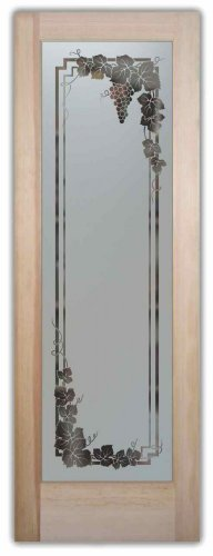 Pantry Door - Sans Soucie Etched Glass Interior Door, Doug Fir, Vineyard Grapes Garland 24 in. x 80 in. Book/Slab Door 1-3/8 in. (Interior Glass Slab Door compare prices)