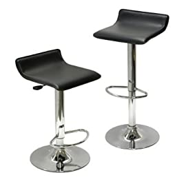 Contemporary Chrome Air Lift Adjustable Swivel Stools, Set of 2