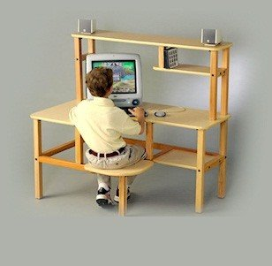 Buy Low Price Comfortable Wild Zoo Furniture GRD MPL-RED-WZ Grade School Computer Desk in Maple with Red Trim (B0029L3WW6)
