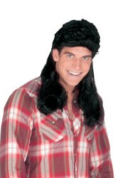 Fun World Super Mullet Wig Black front-1024099
