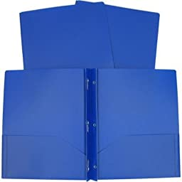 3 Poly Double Pocket Folder with Prongs - 8 Pack Folders (Blue)