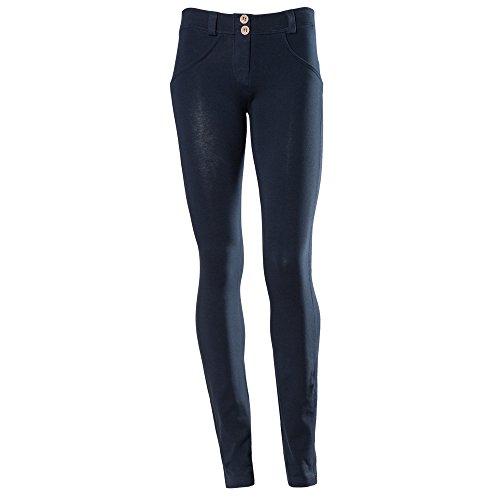 Freddy WR.UP - Pantaloni dritti da donna, a vita bassa, effetto modellante, S, blu