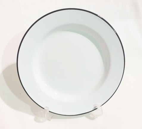 "Enamelware 10.25"" Dinner Plate, Grey Rim"