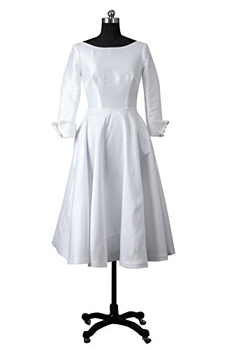 Outerinner Women'S Modest Vintage V Back Circle Wedding Dress 11075-8